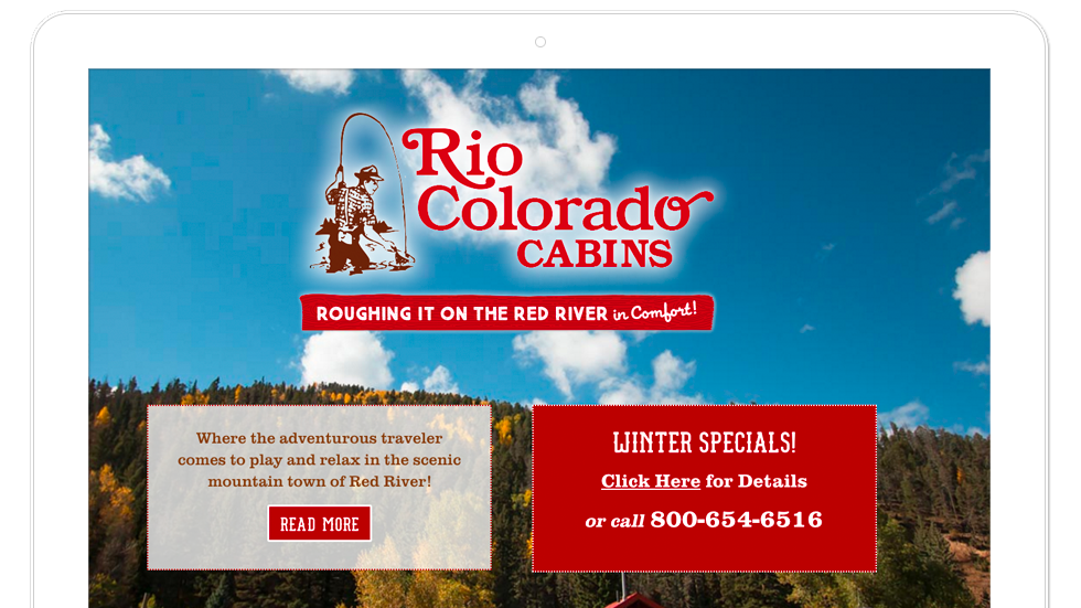 Wordpress web design for rio colorado cabins, web design for Red River, NM travel industry