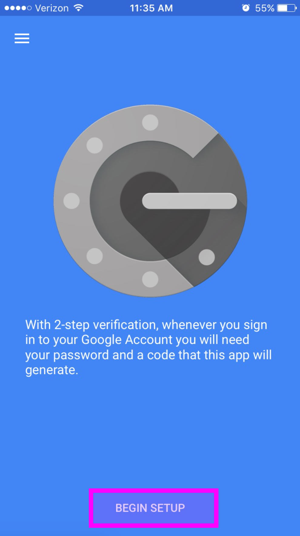 Google Authenticator App setup screen