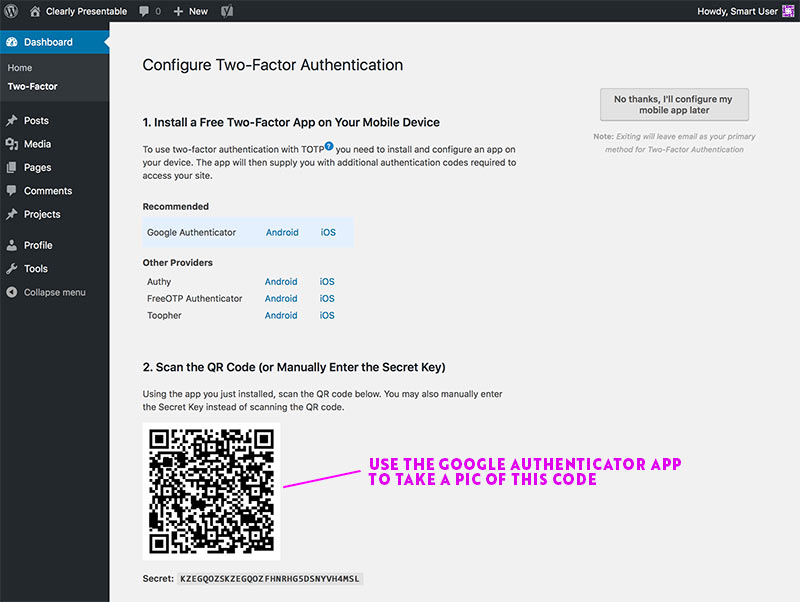 Take a picture of the QR code in WordPress