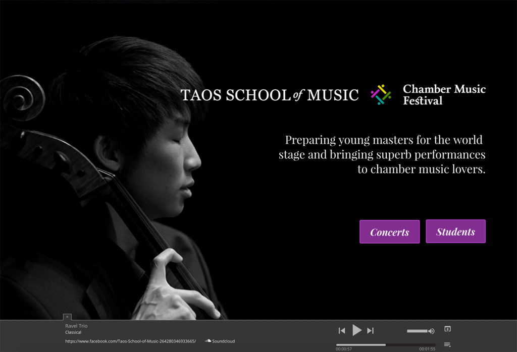 Custom web design for the Taos School of Music in Taos Ski Valley