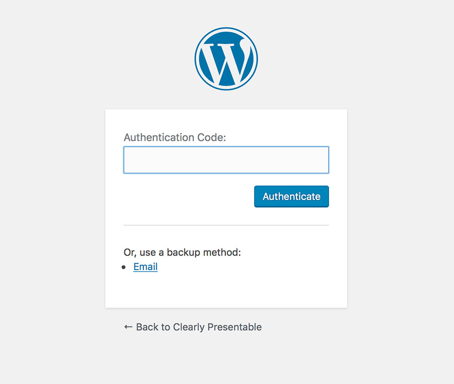 Wordpress two-factor authentication login prompt