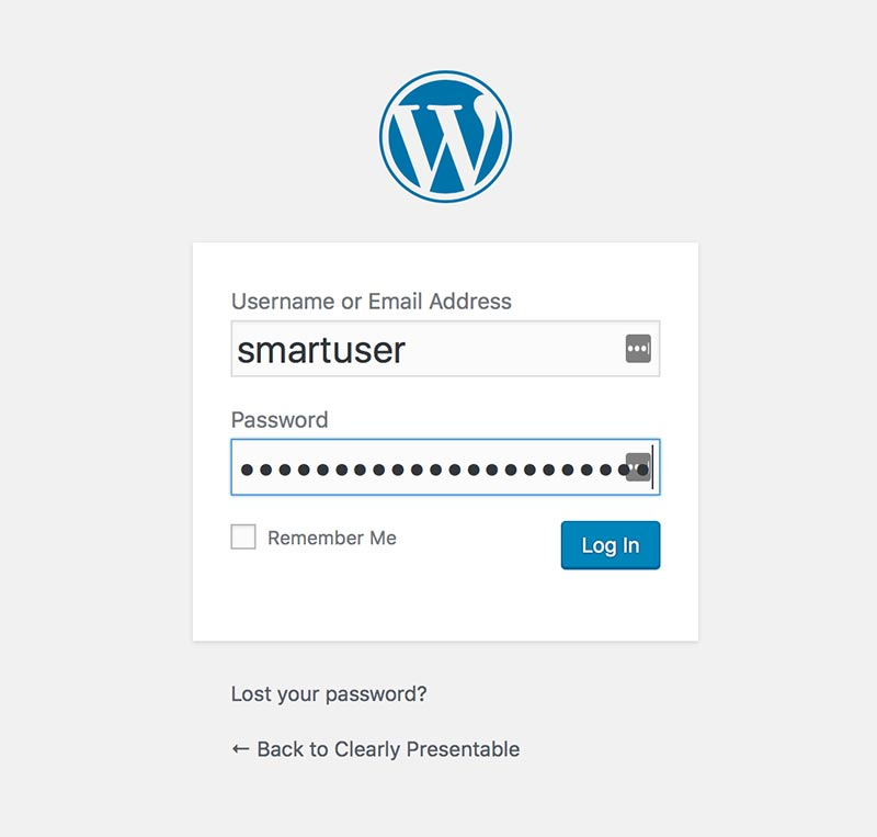 login page for wordpress