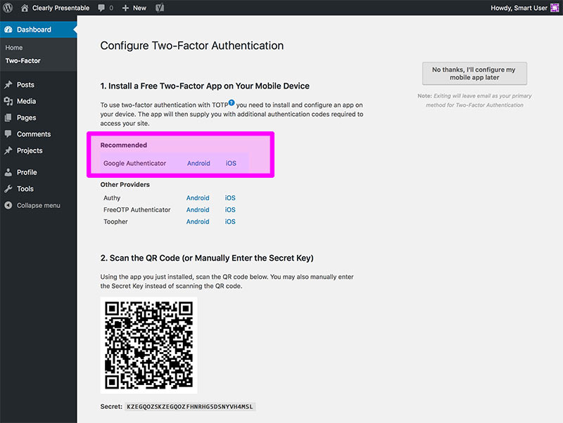 Wordpress two factor authentication step 3
