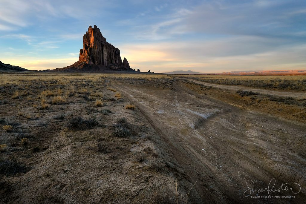 Shiprock, New Mexico at sunset